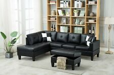 3pc Faux Leather Sectional Modern Sofa Couch Set Left Right Chaise Ottoman