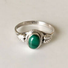 925 Sterling Silver Stackable Malachite Gemstone Stack Leaf Ring Size US 6 7 8.5