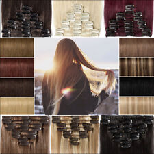 Real Thick AS Human Hair 8Piece Full Head Clip In Hair Extensions Straight Curly