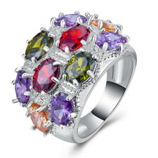 Gorgeous Women Multi-Color Gemstone Silver Jewelry Wedding Ring Size 6-10