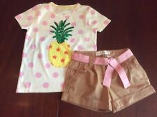 NWT 6 Mini Boden Outfit Pink Dot Pineapple Tee & Caramel Shorts