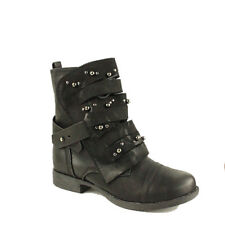 WOMENS MILITARY COMBAT GOTH PUNK STUDDED BUCKLE ARMY BIKER ANKLE BOOTS SIZE 3-8