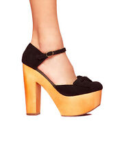 Jeffrey Campbell Annabella Black and Wood Platform Heels