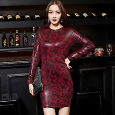 Women Long Sleeve Round Neck Pu Leather Black Brown Color Bodycon Dress