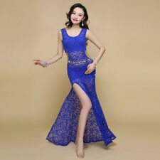 2018 New Women Sexy Lace Hollow Out Belly Dance Costume Long Dress S M L