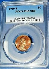 1969-S 1C RD Lincoln Cent-PCGS MS63RB--379-1