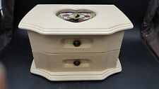 Lovely Mele Musical Jewelry Box with Heart Shaped Glass Painted Flowers