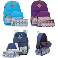 3PCS Girl Canvas Backpack Schoolbag Casual Travel Rucksack Satchel Shoulder Bag