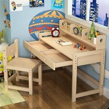 Kids Study Table With Bookshelf/Drawer Natural Solid Wood Desk and Chair Set New