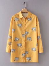 New Womens Fashion Casual Leopard Print Long Sleeve Yellow Blouse Shirt Tops