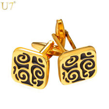 U7 Mens Cufflinks Gold/Silver Color Lucky Business Classic Square Cuff Buttons