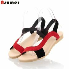 ASUMER 2018 fashion high quality cow suede real leather sandals mixed color flat