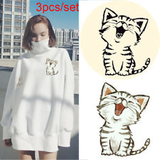 3 Pcs/SET Funny Cat Iron on Patches Sticker Heat Transfer Appliqued Clothes Bags
