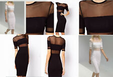 NWT £30 Asos Made in Britain MIDI Dress with Sheer Panels by Asos BLACK