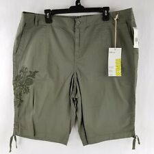 Style&Co Womens Bermuda Shorts Khaki Embroidered Floral Paisley Green 18W-22W