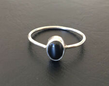 925 Sterling Silver Stackable Black Onyx Gemstone Stack Ring Cabochon US 6 - 11