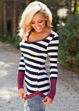 Fashion T-Shirt Long Sleeve Sexy Neck Top Women Crew Striped Blouse Casual Pop