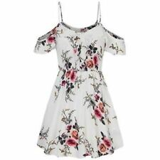 Women Floral Printed Spaghetti Strap Chiffon Ruffle Decorated Loose Mini Dress