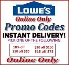 Lowes Store Promotional Discount Savings 10%, 20 off 100, 10 off 50 Codes 40 60