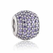 Genuine sterling silver Pave CZ Bead with Multicolor genuine charm Fit bracelets