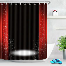 Stage Light Red And Black Shower Curtain Waterproof Fabric Bath Curtains Hooks