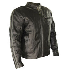 Xelement 'Cafe Racer' Mens Black Leather Armored Distressed Jacket size 3XL