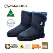 Short SWAROVSKI Crystal Button UGG Boots,Australian Made,Premium Sheepskin,Navy