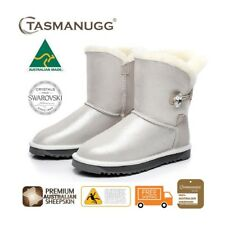 Short SWAROVSKI Crystal Button UGG Boots,Australian Made,Premium Sheepskin,Cloud