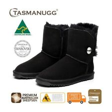 Short SWAROVSKI Crystal Button UGG Boots, Australian Made,Premium Sheepskin,Blk