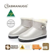 Mini SWAROVSKI Crystal Button UGG Boots, Australian Made,Premium Sheepskin,Cloud