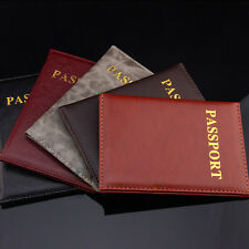 Women Men Travel Passport Holder Leather Cover ID Credit Card Holder Wallet ^TH