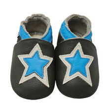 Mejale 100%Leather Baby Shoes Stars Moccasins Soft Sole Gray Slippers 0-24Months