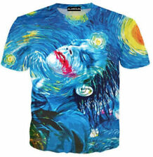 Funny 3D Print Short Sleeve Graphic Tee Joker Mens Casual Oil Painting T-Shirt I