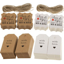 100pcs Love Mr Mrs Kraft Card Tags Valentine's Day Wedding Gift Luggage Crafts