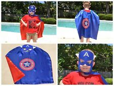 Captain America Birthday Party Favors, Superhero Mask, Cape can Personalize Name