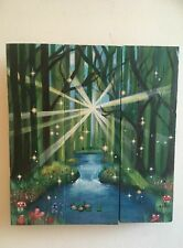 Handpainted driftwood fairy  forest  picture gift wall art