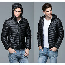 Mens Ultralight Hooded Duck Down Puffer Jacket Coat Warm Outwear Packable Parka