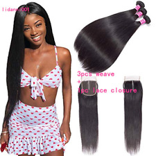 6A Brazilian Human Hair 3 Bundles With Closure Straight Hair Weave Extensions