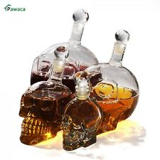 Crystal Skull Head Vodka Bottle Glass Decanter Bottle Gothic Wine Glass With Tap