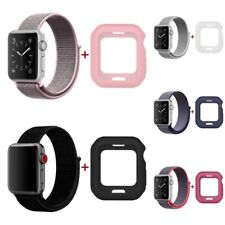 Silicone Cover+Band Loop Woven Nylon Sport For Apple Watch series 3/2/1 38/42mm