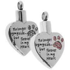 Stainless Steel Heart Shape Animal Claw Crystal Urn Ashes Memorial Pendant