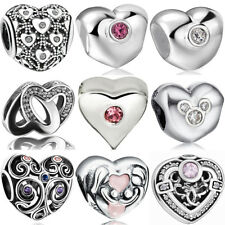 New european sterling heart 925 silver charms bead for bracelet necklace BK011
