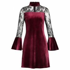 Women Velvet Material Patchwork Pattern Embroidered Lace Decorated Mini Dress