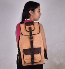 New Brown Vintage Women Genuine Cow Leather Backpack Travel Bag Free Shipping US