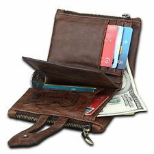 Unisex Genuine Leather Slim Wallet Double Hasp Coin Purse Card Holder For Women