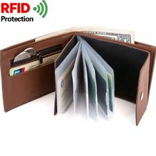 RFID Mens Bifold Leather Flap Card/ID Card Holder Zipper Coin Pocket Slim Wallet