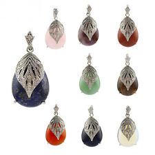 Semi-precious stone Agate Crystal Water drop Leaf Pendants Jewelry Necklaces