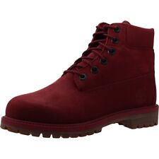 Timberland 6 Inch Premium Burgundy Nubuck Youth Ankle Boots