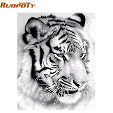 RUOPOTY Frame Tiger Animals DIY Painting By Numbers Wall Art Picture Acrylic