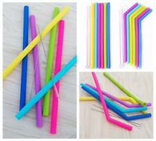 6Pcs Food Grade Reusable Silicone Drinking Straight Bending Straws with Brushes